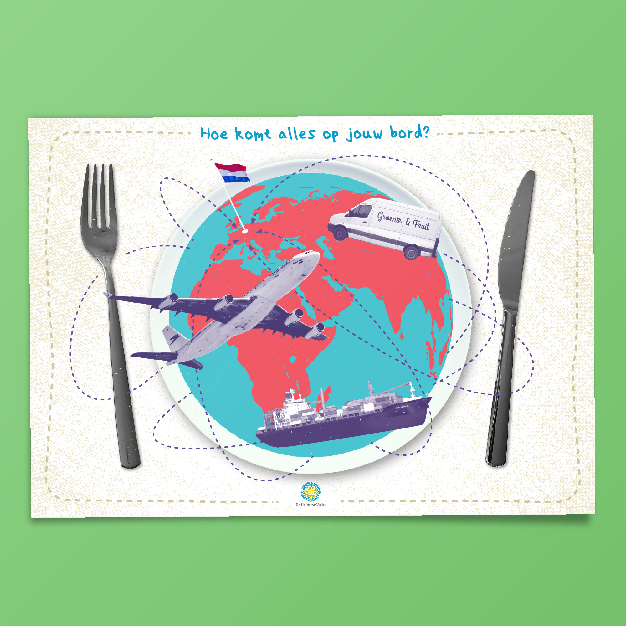 dimgray maakte voor de Helderse vallei deze placemat over de herkomst van voedsel